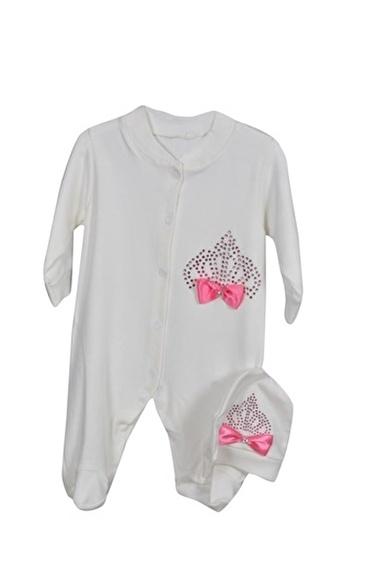 Sema Bebe Mrc Baby Taşlı Fiyonklu Tulum Bebek Giyim Pembe